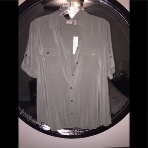 Chicos silky chic camp shirt size 2 NWT - Fatigue